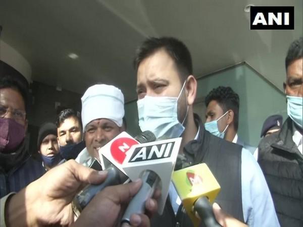 Leader of Opposition in Bihar Tejaswi Yadav talking to media at Ranchi on Saturday.