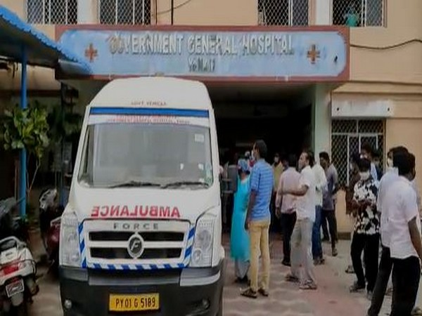 Visuals from outside of Government Hospital Kakinada. (Photo/ANI)