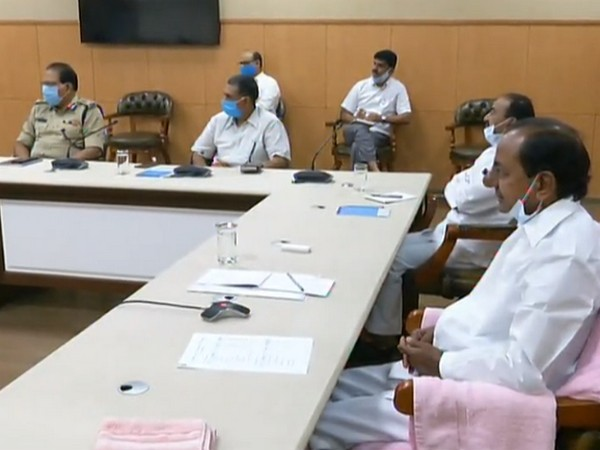 Telangana CM KCR taking part in the meeting held via video conferencing on Tuesday. Photo/ANI