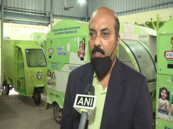 Eride E-mobility founder Davender Reddy talking to ANI in Hyderabad. Photo/ANI