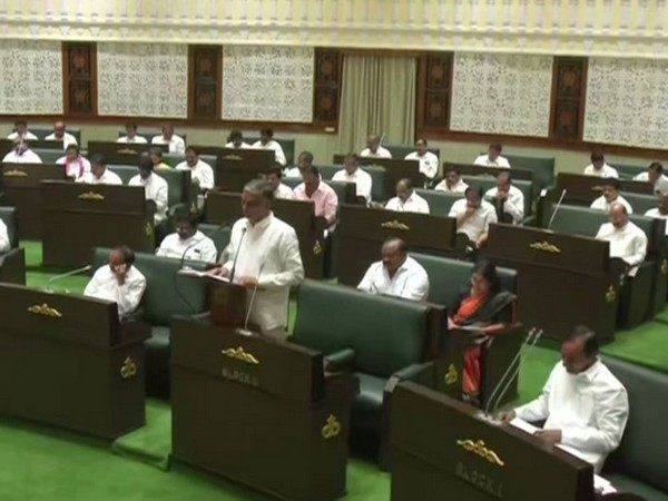 Telangana Finance Minister T Harish Rao presenting the budget in state Legislative Assembly as CM K Chandrashekar Rao looks on, on Sunday.
