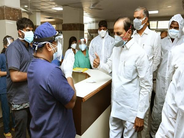 Telangana Chief Minister K Chandrashekar Rao at Gandhi Hospital.
