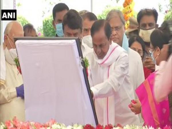 Telangana Chief Minister K Chandrasekhar Rao attends birth centenary celebrations of PV Narasimha Rao in Hyderabad on Sunday. Photo/ANI
