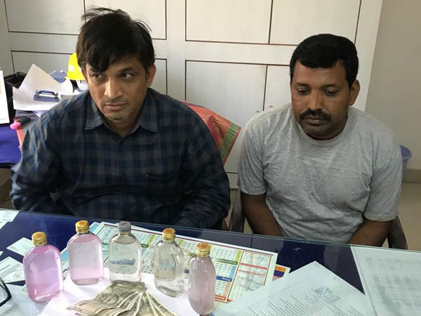 The arrested accused along with bribe amount