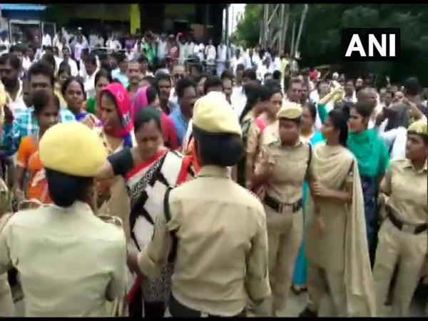 Protest outside the Apollo DRDO Hospital in Hyderabad after a TSRTC bus driver had succumbed to his injuries on Sunday.