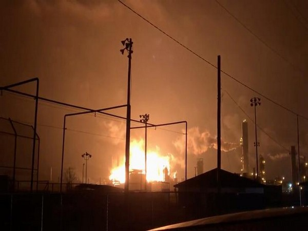 An explosion and fire are pictured at a chemical plant in Port Neches, Texas