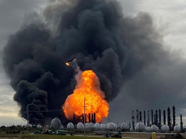 Fire caused due to massive explosions at a chemical plant in Port Neches, Texas.