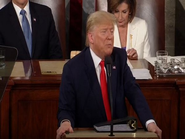US President Donald Trump addressing the State of Union address on Tuesday