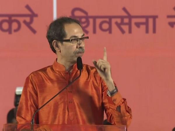 Shiv Sena chief Uddhav Thackeray speaking at an event in Shivaji Park in Mumbai on Tuesday. Photo/ANI
