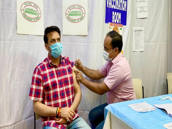 Anurag Thakur taking COVID-19 vaccine in Parliament.