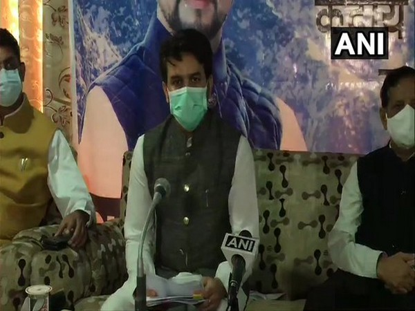 Minister of State (MoS) for Finance & Corporate Affairs, Anurag Thakur speaking to reporters on Sunday.