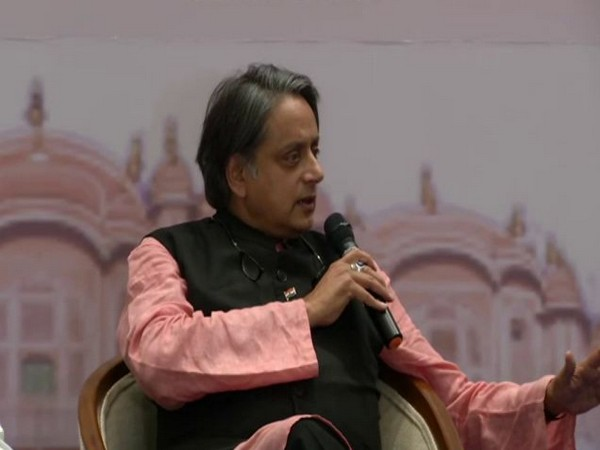Congress MP Shashi Tharoor at an event in Jaipur on Thursday. Photo/ANI