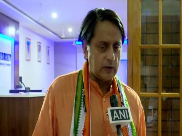 Congress MP Shashi Tharoor talking to ANI on Saturday. Photo/ANI