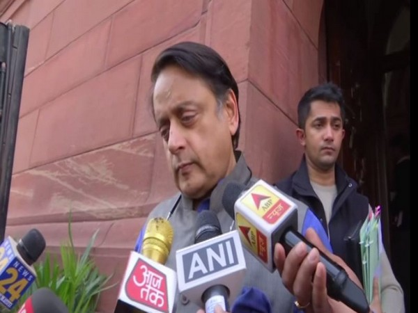Congress MP Shashi Tharoor speaking to reporters in New Delhi on Wednesday. Photo/ANI