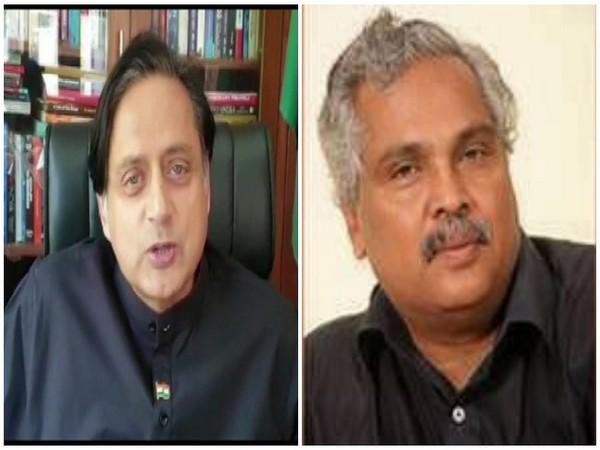 Congress MP Shashi Tharoor (L) and CPI leader Binoy Viswam (R)