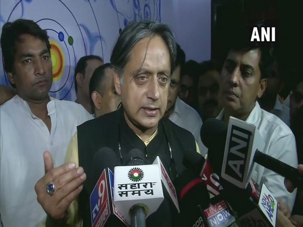 Congress MP Shashi Tharoor speaking to reporters in New Delhi on Monday. Photo/ANI