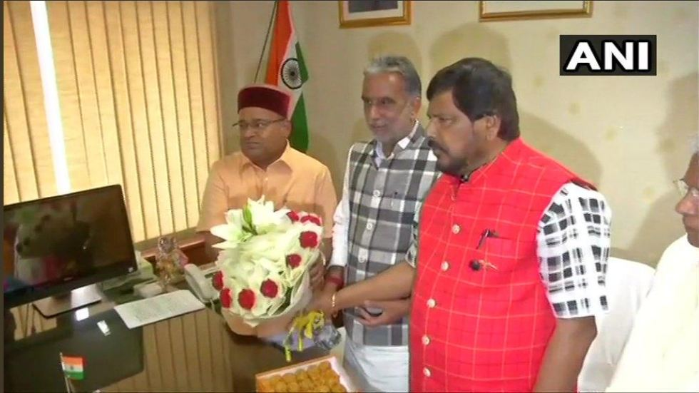 Union Minister of Social Justice and Empowerment Thawarchand Gehlot (extreme left) with MoS Ramdas Athawale and Krishan Pal Gujjar after taking charge of the ministry on Tuesday. Photo/ANI