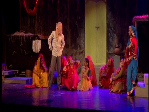 A theatre group performing at Nutan International Theatre Festival (NITF) in Jammu. The festival will conclude on Feb 13. (ANI)