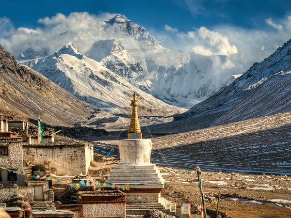 A view of Mt Everest from Tibet.
