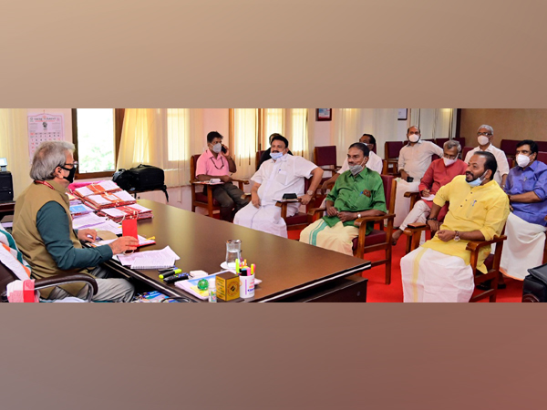 Chief Electoral Officer Tikaram Meena addressing a meeting with political parties in Kerala. (Photo/ANI)