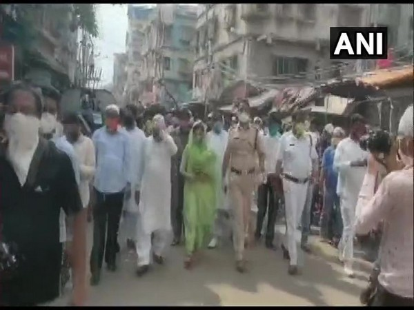 Visual from the rally carried out by police and local TMC leaders in Howrah. Photo/ANI