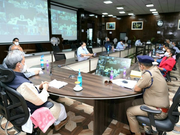 Visual of meeting chaired by Uttarakhand Chief Minister, Tirath Singh Rawat (Photo/ANI)