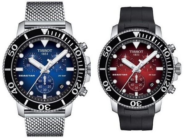 Tissot Seastar in Navy Blue and Deep Red variants