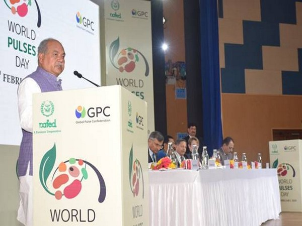 Union Agriculture Minister Narendra Singh Tomar speaking at UN World Pulses Day celebrations in New Delhi on Monday.