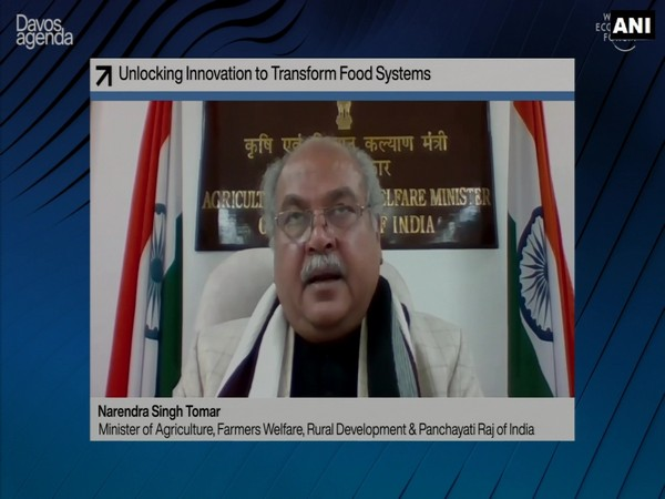 Narendra Singh Tomar speaking at the World Economic Forum's Davos Agenda summit via video conferencing on Wednesday.