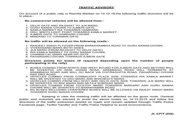 Traffic advisory issued by Delhi police