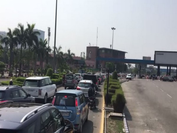Traffic jam witnessed at Delhi-Noida Direct flyway on Monday.