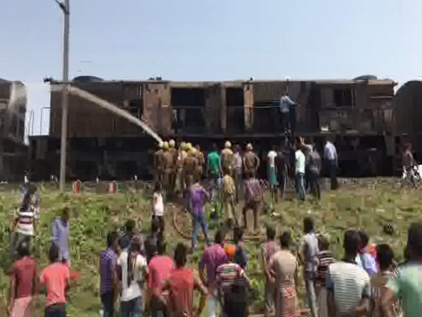 Two people were killed after UP-Chandigarh-Dibrugarh Express caught fire on Friday. Photo/ANI