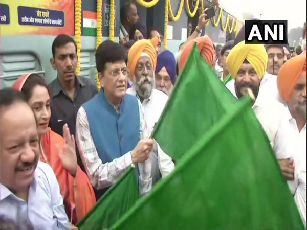 Railway Minister Piyush Goyal along with two other ministers flagged off Sarbat Da Bhalla Express in New Delhi on Friday. (Photo/ANI)