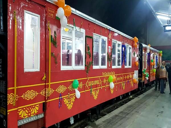 A view of Him Darshan Express train, which runs between Kalka and Shimla stations. Photo/ANI