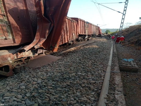 Nine wagons of a goods train derailed in Maharashtra's Ratnagiri district on Sunday. Photo/ANI