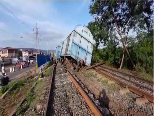 A goods train derailed opposite Naval Dock Yard gate in Visakhapatnam. Photo/ANI