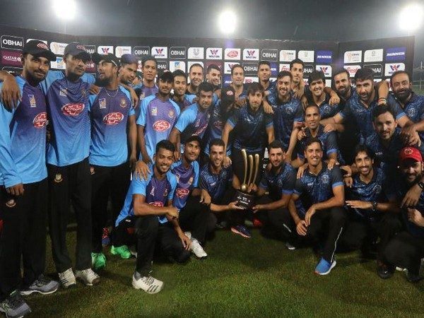 Bangladesh and Afghanistan squad with Tri-nation series trophy after final got abandoned due to rain here on Tuesday. (Photo/ Bangladesh Cricket Twitter)