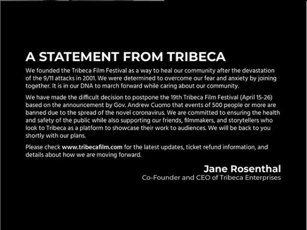 Statement by Tribeca posted on their Instagram handle