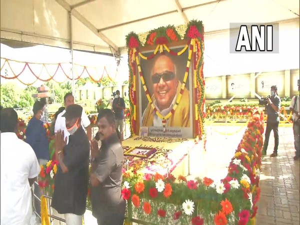 Tamil Nadu Chief Minister MK Stalin paid floral tribute to former Chief Minister M Karunanidhi in Chennai.