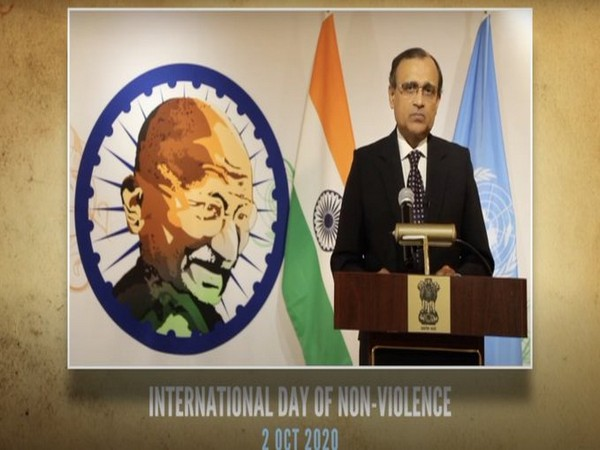 Indian Envoy to United Nations TS Tirumurti speaking at a virtual event titled 'Gandhi@150: A non-violent approach to peace and development'.