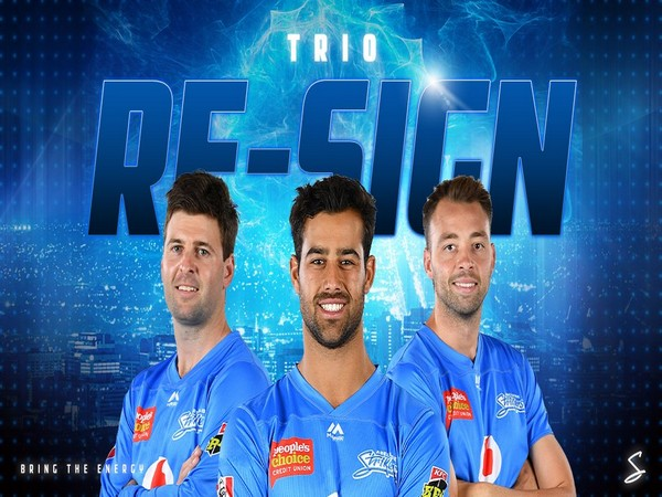 Wes Agar, Liam O'Connor and Harry Conway (Photo/ Adelaide Strikers Twitter)
