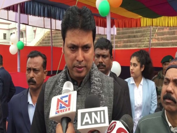 Tripura Chief Minister Biplab Kumar Deb speaking to reporters in Agartala on Sunday. Photo/ANI