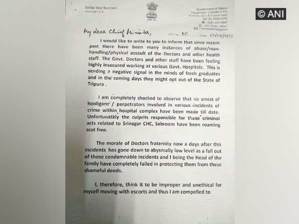 State Health Minister Sudip Roy Barman writes to Tripura Chief Minister Biplab Kumar Deb Photo/ANI