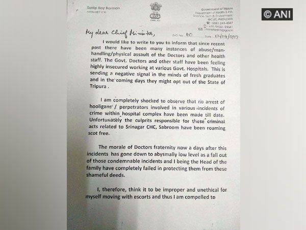 State Health Minister Sudip Roy Barman writes to Tripura Chief Minister Biplab Kumar Deb Photo/ANI