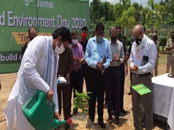 Tripura Chief Minister Biplab Kumar Deb participated in plantation drive in Tripura. (Photo/ANI)