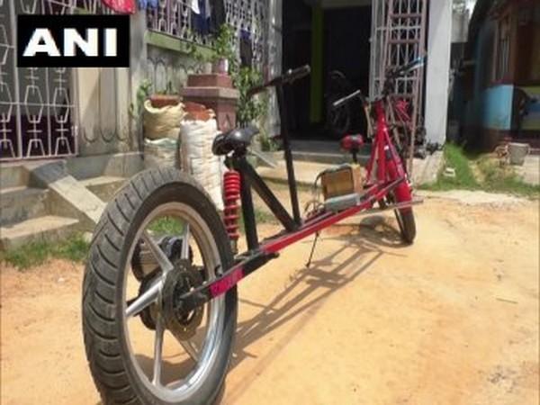Bike prepared by Tripura's Partha Saha. Photo/ANI