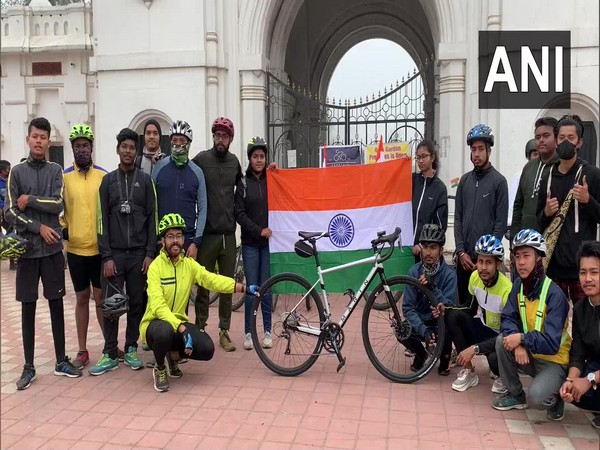 Visual of people who participated in a cycle rally in Tripura. (Photo/ANI)
