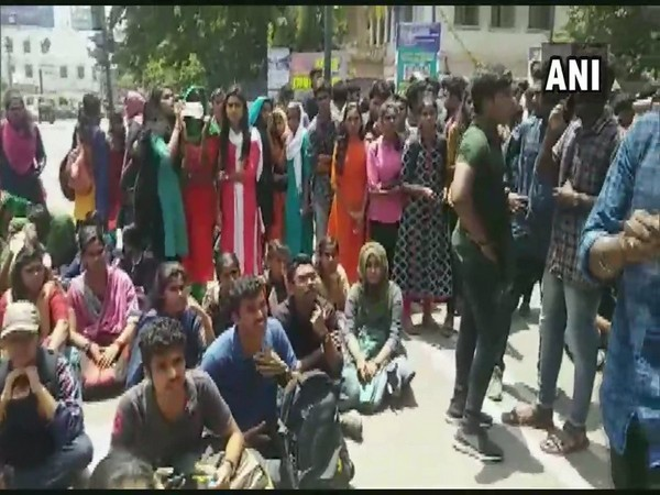Students protesting outside the University College, Trivandrum on Friday. Photo/ANI