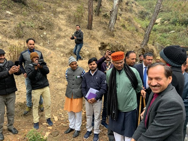 Uttarakhand Chief Minister Trivendra Singh Rawat at lake site on Friday. Photo/AN