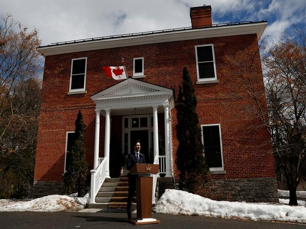 Canada's Prime Minister Justin Trudeau gives a speech at a news conference at Rideau Cottage in Ottawa